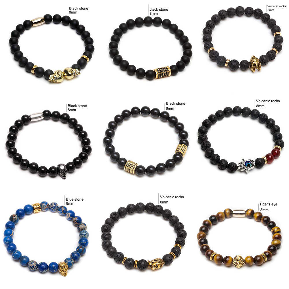 men bracelet/beads braclets/lava/natural/homme/fashion/bangles Bracelet Men Wooden bead Accessorie Jewelry male skull bracelet