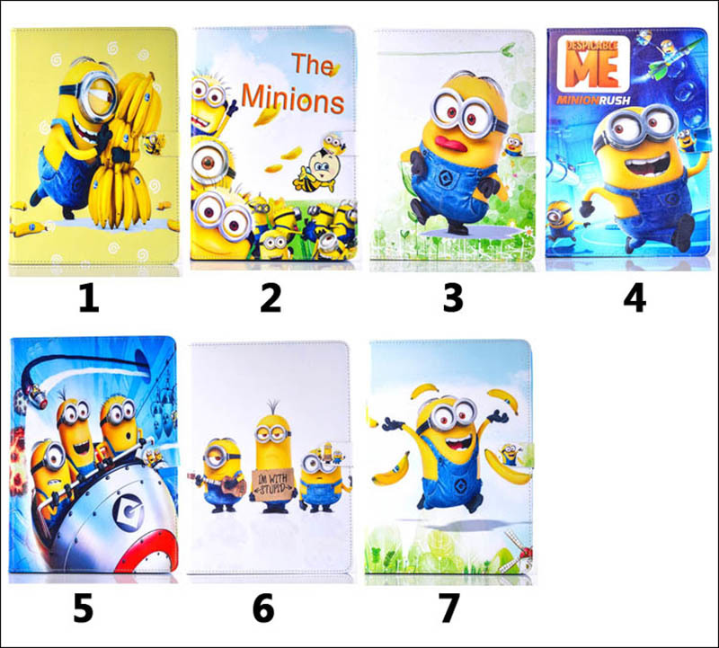 Case For Samsung Galaxy Tab 4 10.1 T530 T531 Cartoon Lovely 7 Kinds Minions Patterns Tablet Case Cover Stand shell coque para