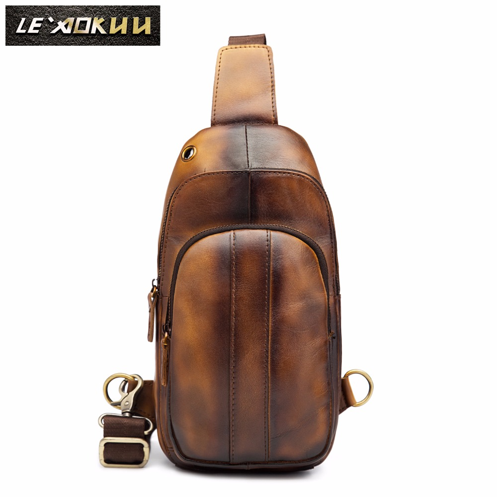 Men Crazy Horse Thick Leather Casual Fashion Chest Bag Sling Bag Design Travel One Shoulder Crossbody Bag Daypack Male 8006l