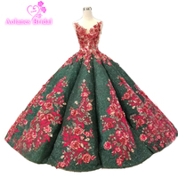 2019 Desamazing Omg Waves Long Evening Dress Ball Gown Emerald Green Lace Red Wedding Party Gowns 2018 Red Formal Prom Dresses