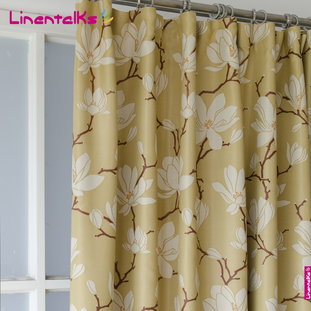 Magnolia Flower Printed Blackout Curtain Yellow Curtain For The