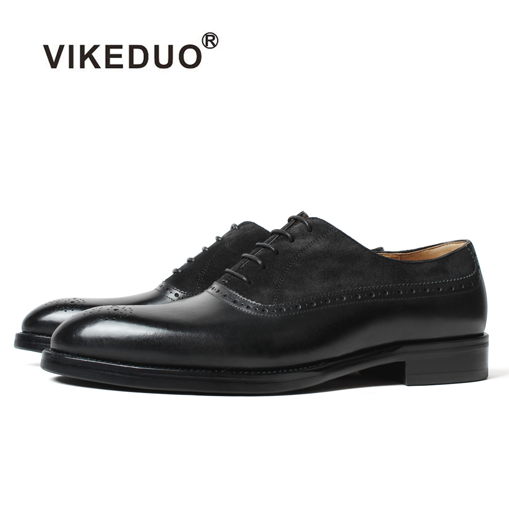 VIKEDUO Patina Customized Oxford Formal Dress Shoes Men Genuine Cow Leather Wedding Office Business Flat Footwear Brogue Zapatos