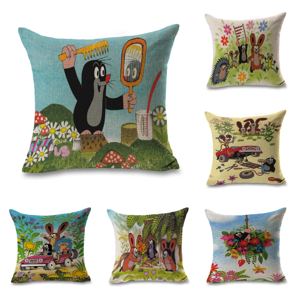 How To Make Throw Pillows.Us 5 37 21 Off Czech Krtek Anime Mole Make Up Pillows Linen Cover Case Couch Seat Cushion Throw Pillow For Car Home Decor Gift In Decorative Pillows