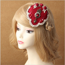 Royal Palace Bride Rose Red Gem Small Top Hat Lace Hair Accessories Side Clamp Headwear Vintage Hairpins