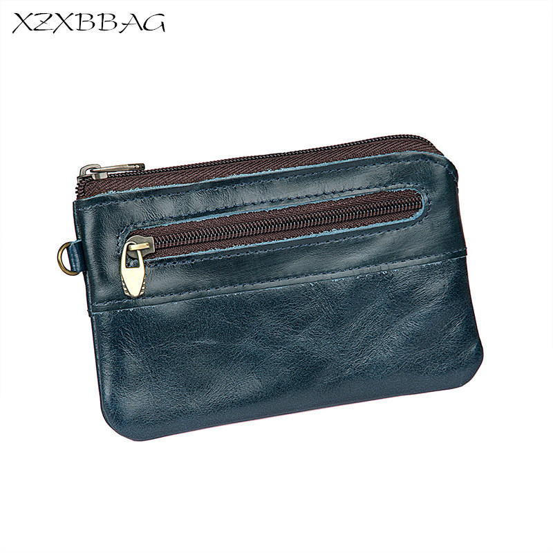 XZXBBAG Genuine Cowhide Leather Coin Purse Men Casual Zipper Small Wallet Male Change Purse Money Bag Mini Zero wallet XB093 цена