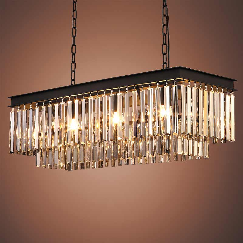 E27 American Country Vintage Amber Crystal Lights Pendant Lamps for Living Room Kitchen Black Iron Retro Home Lighting Fixtures white crystal pendants chandeliers lights vintage pendant lamp for living room bedroom europe style pendant lamps home lighting