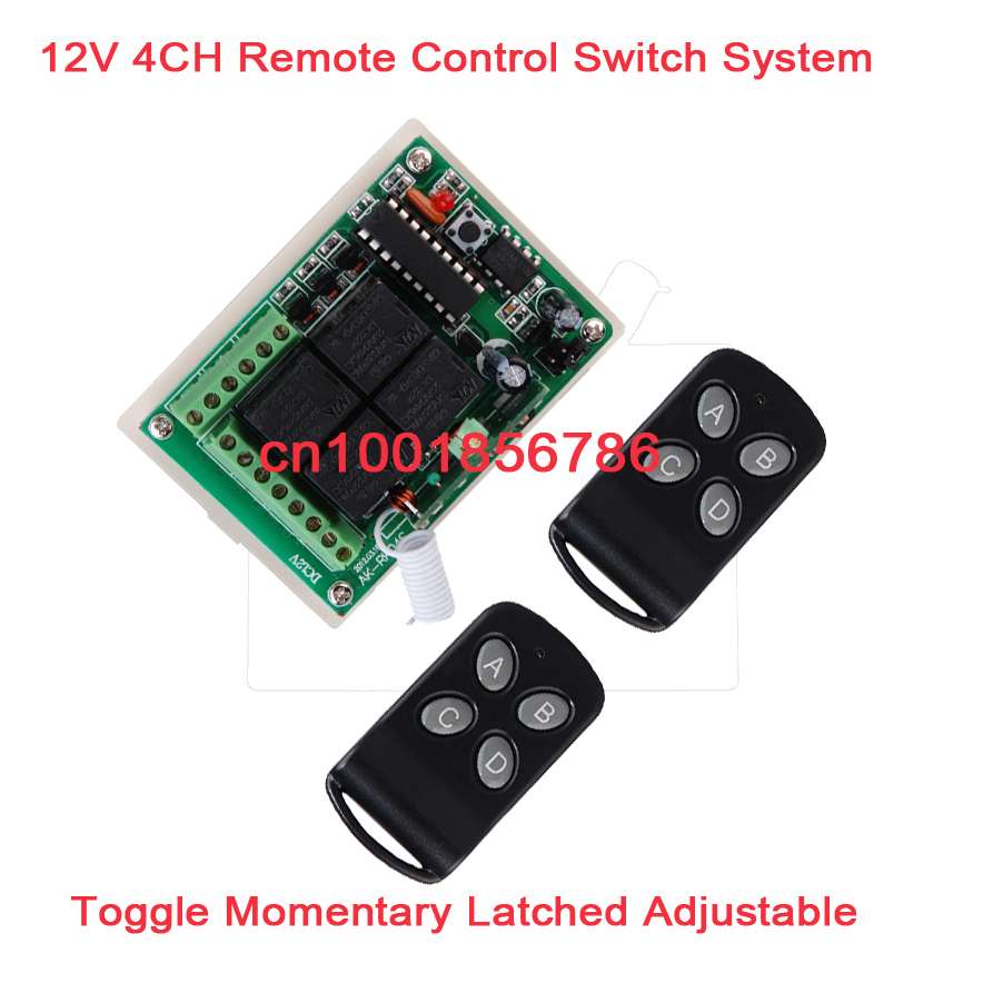12V 4ch Momentary Toggle Latched RF Wireless Remote Control Switch System Receiver &2 TransmitterLED SMD ON OFF12V 4ch Momentary Toggle Latched RF Wireless Remote Control Switch System Receiver &2 TransmitterLED SMD ON OFF