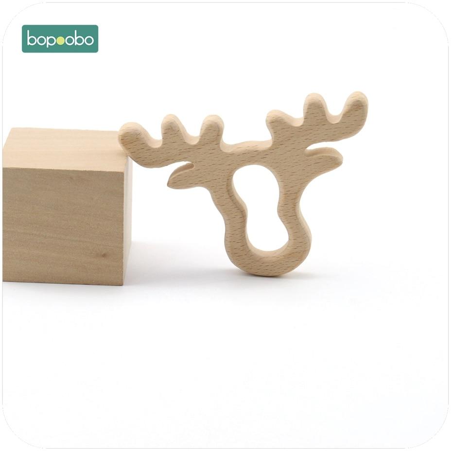 Bopoobo Baby Wooden Teether Accessories Beech Wood Elk Head 1pc DIY Jewelry Nursing Teething Bracelet Wooden Baby Teether