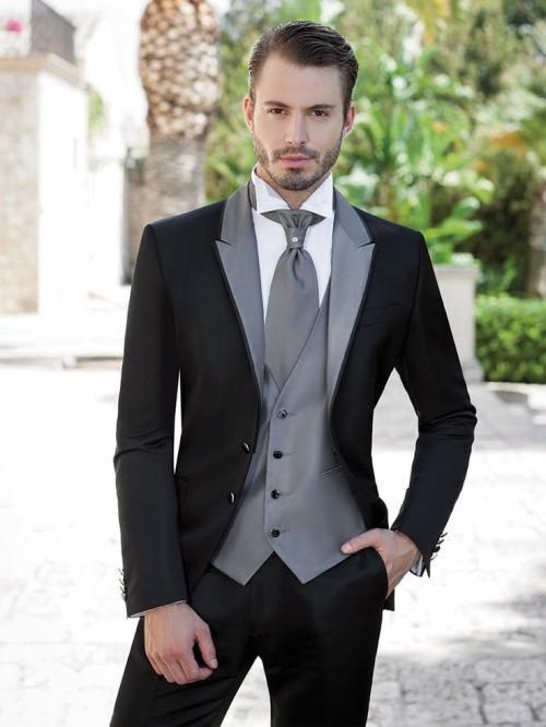 New Arrival Groom Tuxedo Black Groomsmen Peak Lapel Wedding/Dinner Suits Best Man Bridegroom (Jacket+Pants+Tie+Vest) B535