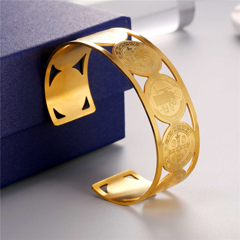 Collare Saint Benedict Medal Bangles 316L Stainless Steel Men Jewelry Gold Color St Benedict Medal Cuff Bracelets Women H162 10