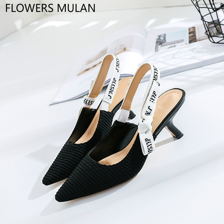 New Arrival Black White Genuine Leather Upper Women High Heels Shoes Pointed Toe Side Butterfly-knot Slingbacks Elegant Pumps