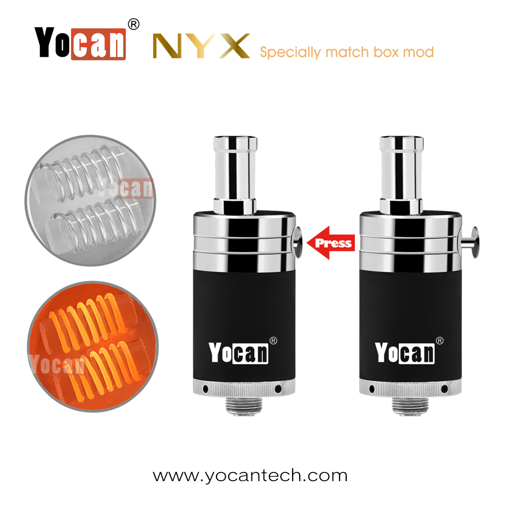 3pcs/lot e-cigarettes Yocan NYX atomizer Wax atomizer airfolw button control 510 vapor tank 20mm Tank for Wax Mod Box in Stock ssop df1706e df1706 3pcs in stock