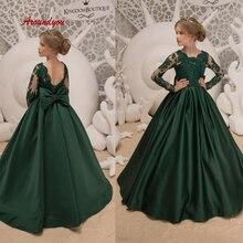 25655c20ca549 Vert à manches longues robe de demoiselle d honneur pour fête et mariages  dentelle Pageant première sainte Communion filles robe.