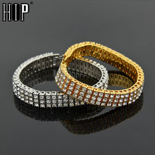 Hip Hop 3 Row Iced Out Cubic Zirconia Bracelet Bling Tennis Chain Bracelets Rhinestone Women Men CZ Link Chain  for Men Jewelry men women hip hop miami cuban link fully cz chain necklace copper casting micro cubic zirconia clasp iced out bling jewelry