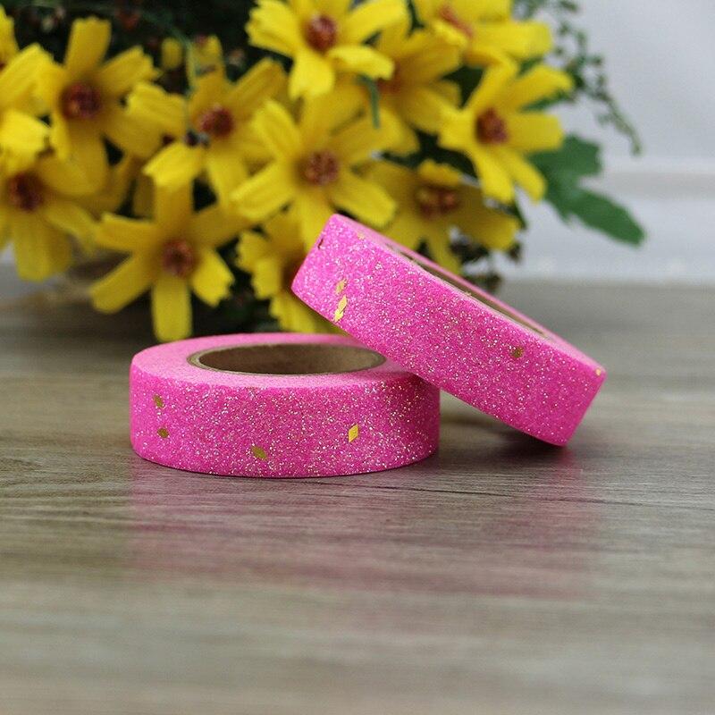 Pink Washi Tape Glitter Diy Set Stationery Decorative Tape Scrapbooking Photo Album School Tools Kawaii Scrapbook Paper