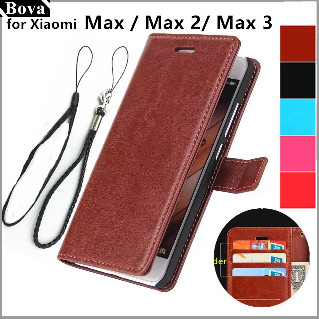 Fundas xiaomi max 6.44 polegadas titular do cartão capa case para xiaomi mi max 2 3 pu leather phone case ultra fino carteira flip cover