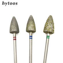 Hytoos broca de pedicure diamante #60 #130 #180, acessórios de manicure com broca, rotativa de 3/32