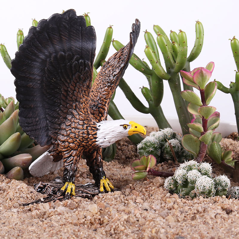 Oenux High Quality Brown Eagle Savage Bird Figurines Lifelike Birds Animals Model Action Figures Collection Toy For Kids Gift