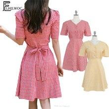 eecb4821ff1 Mignon doux col en V chemise robe corée Design tempérament femmes d été à  manches