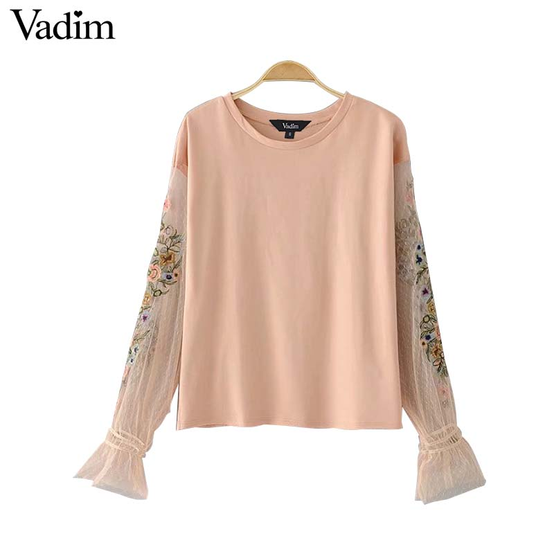 Vadim women lace shirts flare sleeve blouse ladies tops