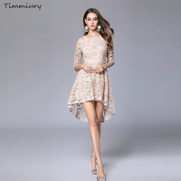 Timmiury A Line Lace Dress Half Sleeves O Neck Sexy Party Dresses Spring Women 2017 Khaki