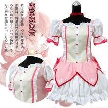Fantasia curta de cosplay de puella magi madoka, vestido mágico de fantasia de kaname madoka, baile com lacinhos