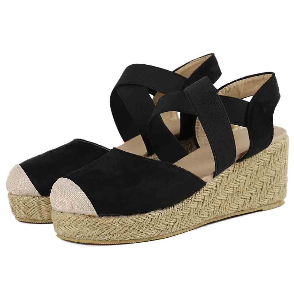 Wedges Shoes Platform Back-Strap Elastic-Band Women Sandals Open-Toe Summer Fashion Flock