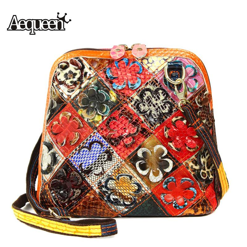 2743c969038b Detail Feedback Questions about AEQUEEN Women Genuine Leather Handbag  Messenger Bags Vintage Casual Patchwork Flower Shell Bags Crossbody  Shoulder Bag ...