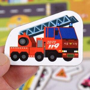 Image 3 - Rompecabezas magnético de madera para niños, juego de animales y vehículos de tráfico, juguetes educativos de aprendizaje preescolar, rompecabezas para niños