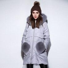 New2016Winter женщин Плюс размер вниз пальто женские дамы случайные пуховик пальто экипировка фокс меховым воротником с капюшоном пальто XXXXXL20306