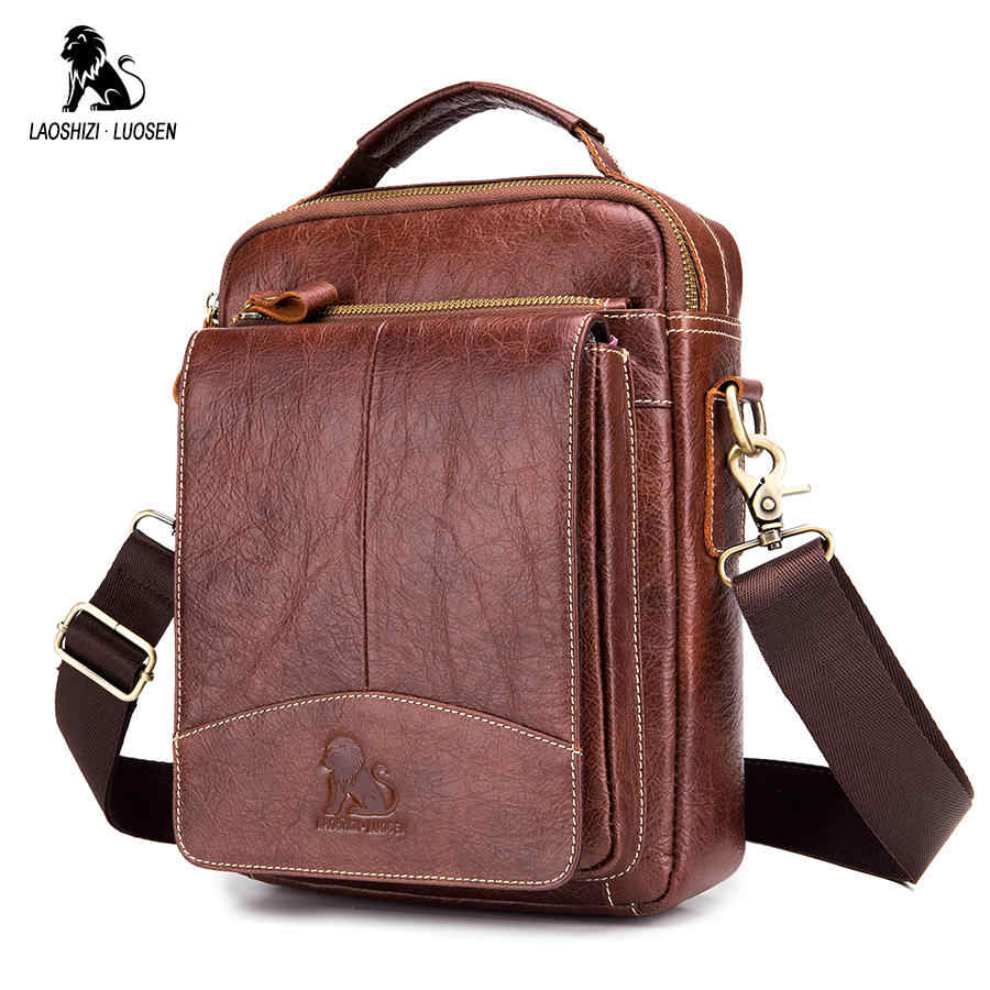 LAOSHIZI LUOSEN Messenger Bag Men Genuine Leather Shoulder Bag Men's bags Small Flap Casual Crossbody Bags for Men Handbag 2018