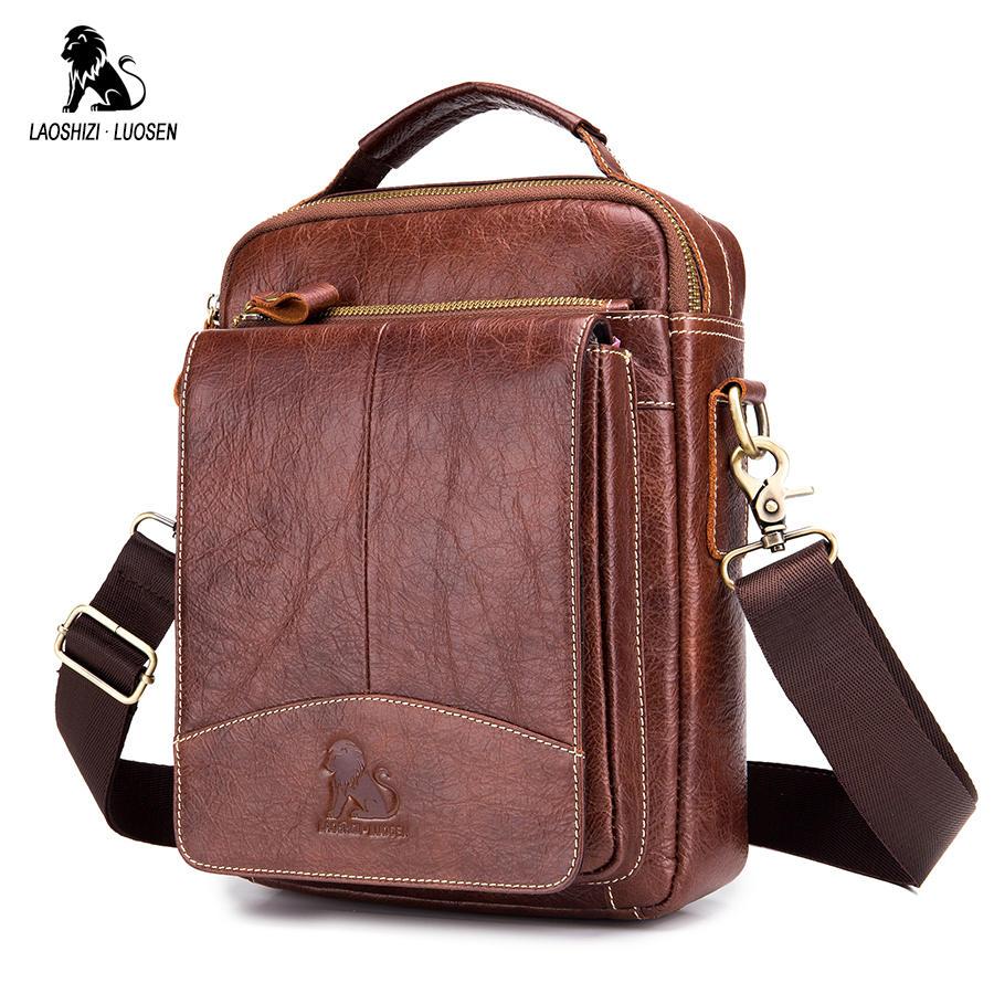 LAOSHIZI LUOSEN Messenger Bag Men Genuine Leather Shoulder Bag Men's bags Small Flap Casual Crossbody Bags for Men Handbag 2018-in Crossbody Bags from Luggage & Bags