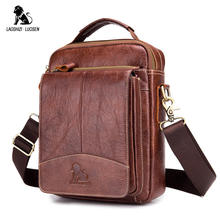 LAOSHIZI LUOSEN Messenger Bag Men Genuine Leather Shoulder Bag Mens bags Small Flap Casual Crossbody Bags for Men Handbag 2018