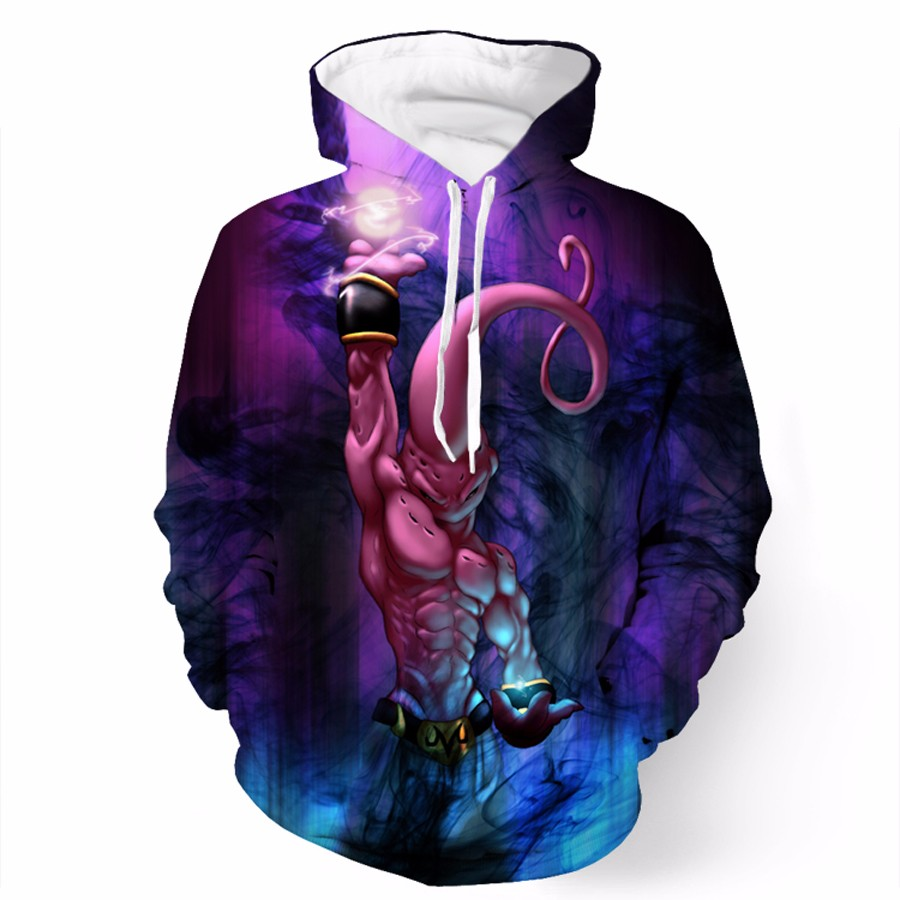 Men Women Fashion Brand clothing Hoodie Long Sleeve Outerwear Anime Dragon Ball Z Majin Buu print