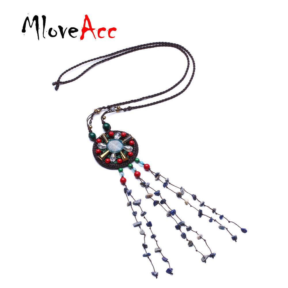 MloveAcc Ethnic Bohemia Stone Tassel Statement Necklaces & Pendants Women Handmade Braided Exotic Necklace Jewelry