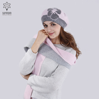 SUPANDAN Autumn Winter Wool Knitted Hat Scarf Set For Women Cap Collar Warm Thick Flower Fleece