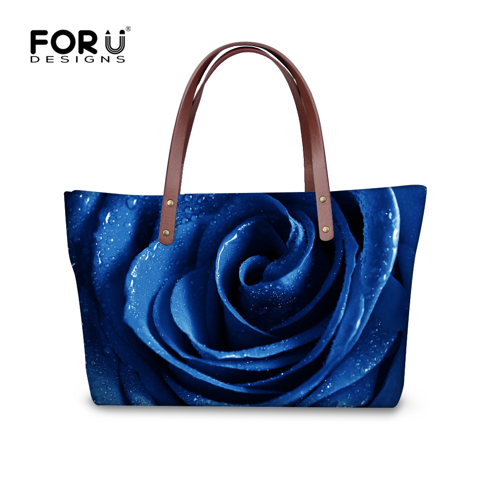 c360f653ea73 FORUDESIGNS Famous Brand Women Handbags Blue Rose Woman Tote Bag Waterproof Female  Shoulder Cross-body Bag Feminine Bolsas Bags