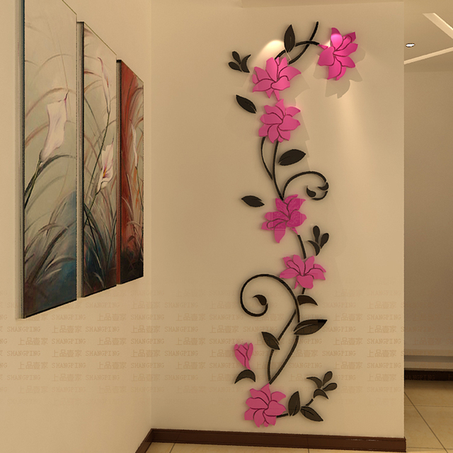 Diy Flowers Wall Stickers Acrylic Stickers Home Decoration