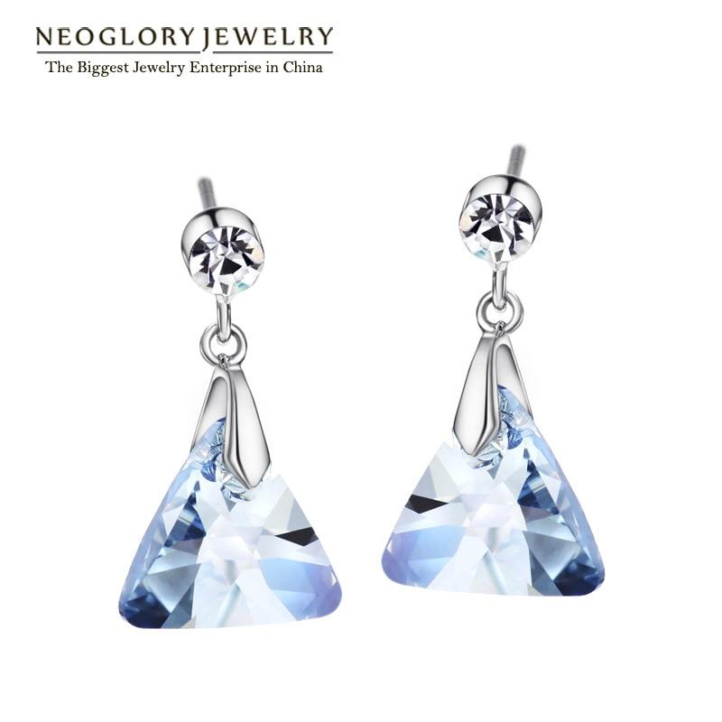Neoglory Blue autentisks austriešu kristāla šarms Dangle Drop Auskari sievietēm Dāvanas Girl Friend Fashion Juvelierizstrādājumi 2018 New JS9