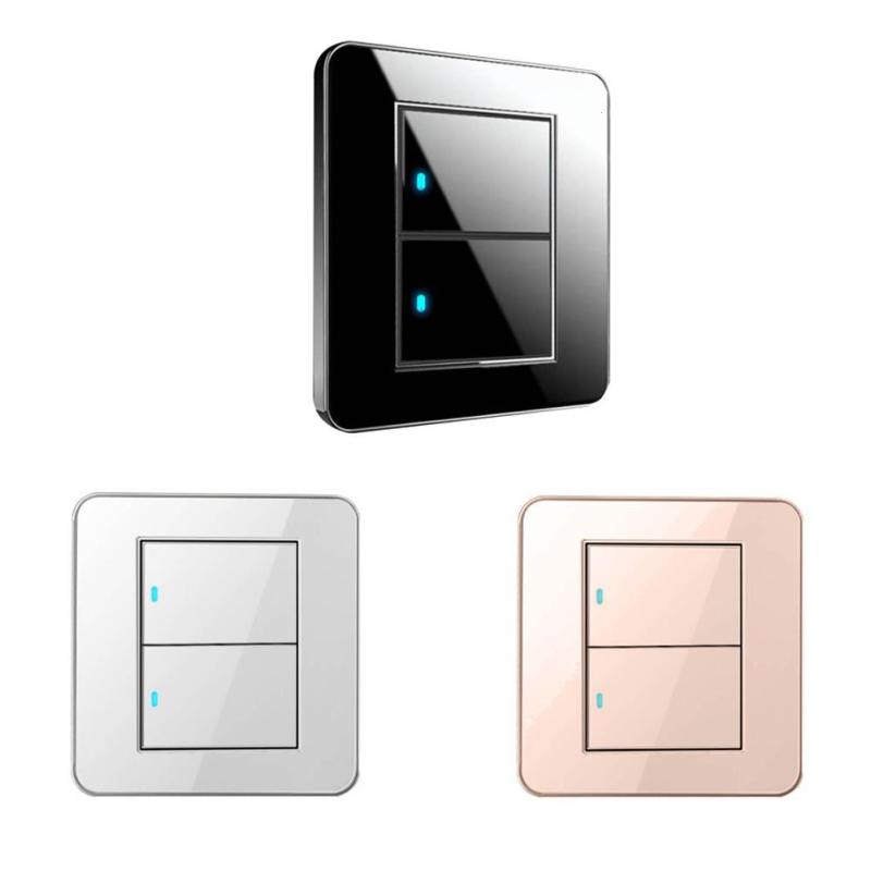 QIACHIP 86 2 Gang 2 Way Push Button Switch with LED Indicator 10A 110V 220V Luxury Wall Light Switch Panel for smart home H3 button wall light switch 2 gang double control swich acrylic luxury crystal 86 panel led indicator light wall button switch