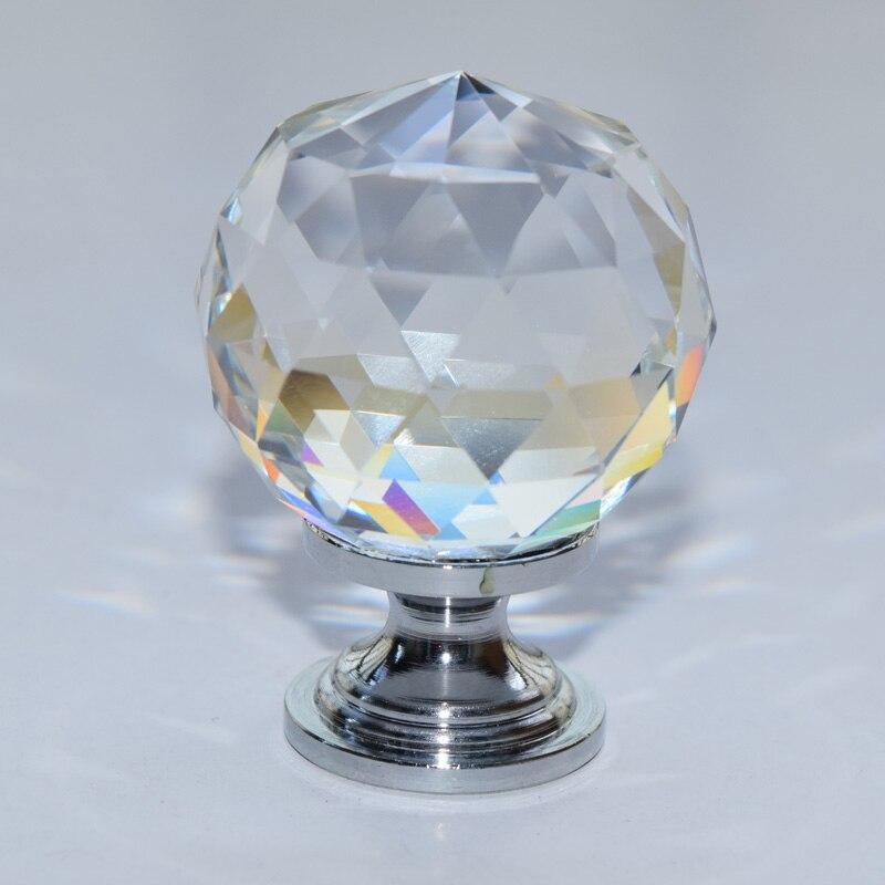 10 Stks Moderne Crystal Met Messing Base Wijn Ark Garderobe Kast Schoen Kast 1-3/16 In. Chrome Facet Crystal Knop