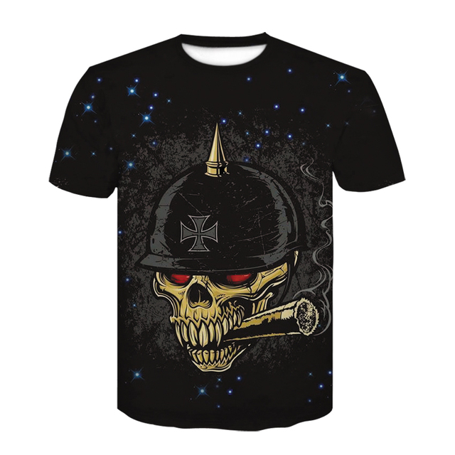 US $3 99 40% OFF|New tshirt skull men 3d print Military helmet Design Short  Sleeve t shirt space Fashion Casual funny t shirts Tops Punk Cool Tee-in