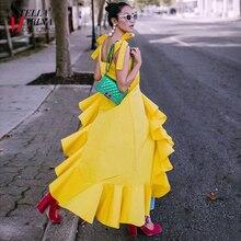 New 2018 Korean Style Summer Clothing Women Yellow Black Strap Dress Sloping Ruffle Hem Girls Stylish Asymmetrical Dresses 3723