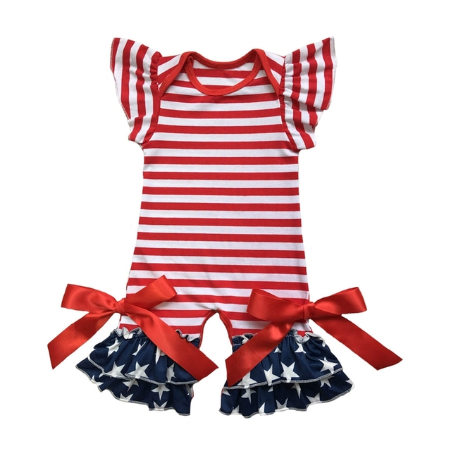 855d441b325b 4th of july Patriotic Festival red white stripe Baby Girls capris ruffle romper  Clothing Wholesale Romper