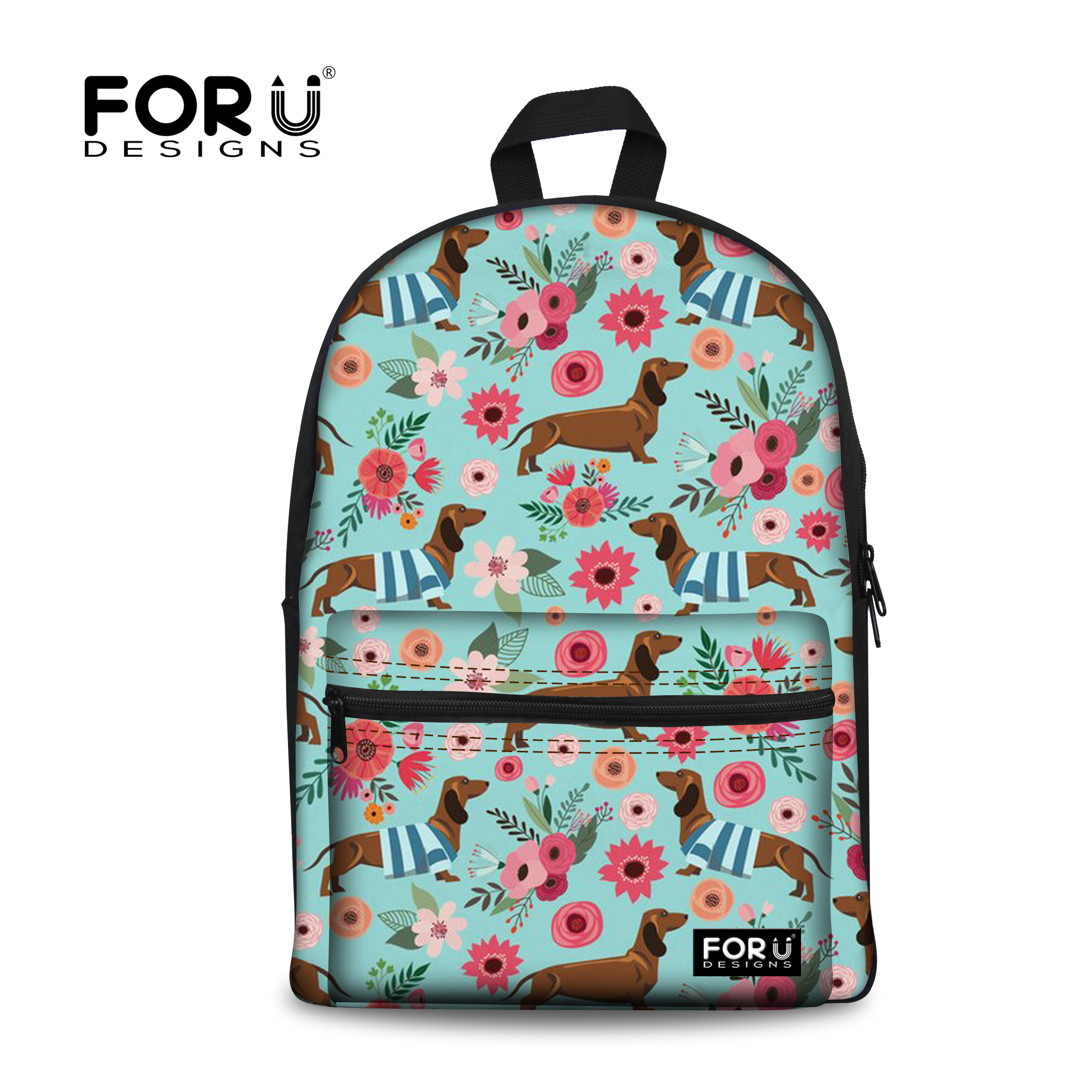 FORUDESIGNS/Модная школьная сумка рюкзак для девочек-подростков Колледж женский школьный такса собака печати основной сумки на плечо