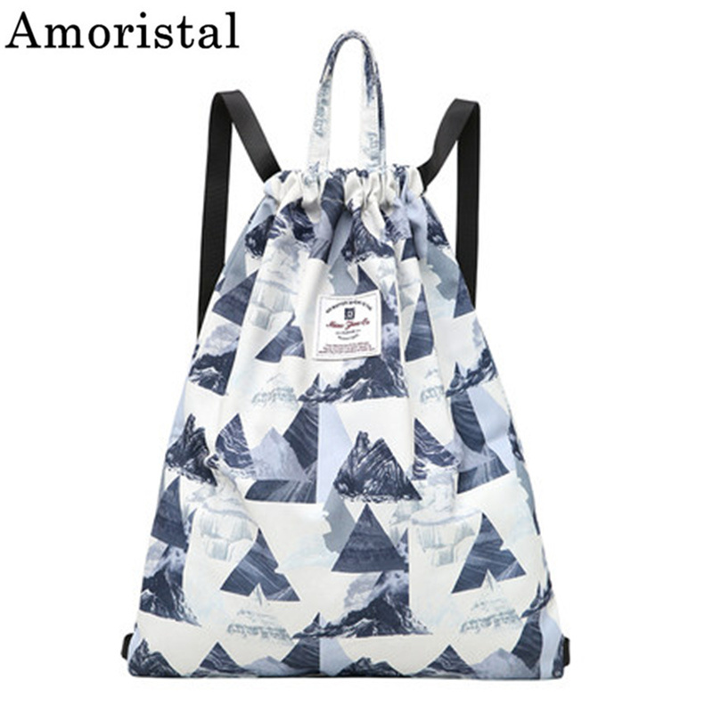 Drawstring Bag Printing Buckle Women Sport Fitness String Backpack Lightweight Simple Storage Basketball Bag Colorful Sack