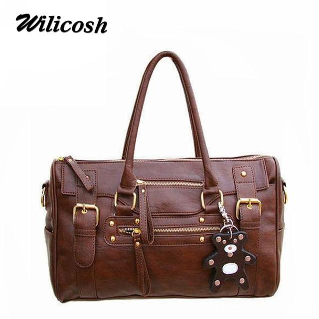 2016 New Design pu leather women handbags vintage belt bear tassel women's shoulder bag casual women messenger bags tote DB3683