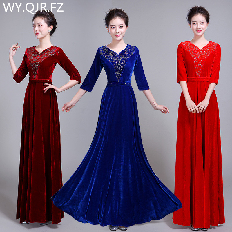 XYF60#pleuche Fabric Hot Drilling Burgundy Long Bridesmaid Dresses Wedding Party Dress Costumes Chinese Women Fashion Clothing