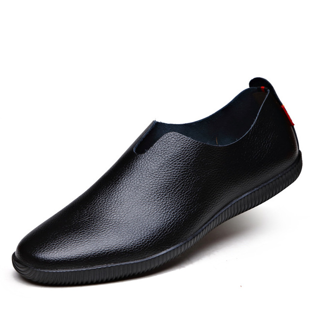 new 2017 genuine leather loafers mens moccasin slippers natural rubber sole driving loafer pointed toe flats