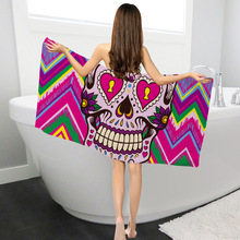 Yilin skull beach towels printing square towel 100% polyester bath nonwoven for adults